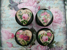 SHABBY ROSES & CHIC HEARTS, 4 BLACK CUPBOARD DOOR/DRAWER, FLOWER KNOBS HANDLES