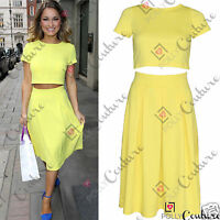 Womens Two Piece Crop Top and Pleated Midi Skirt Ladies Summer Dress Party Set