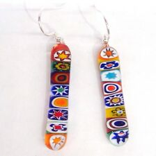Sterling Silver & Murano Glass Millefiori Earrings - Random Multicoloured Drop