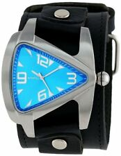 Nemesis Men's Lbb011l Oversized Collection Blue Teardrop Triangle Leather Band