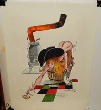 VON ROESLER NUDE COW GIRL LIMITED EDITION HAND SIGNED & COLORED LITHOGRAPH