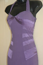 Karen Millen silk dress size 10 mauve purple halter neck bodycon wiggle occasion