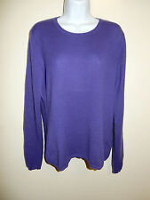 CHARTER CLUB 100% CASHMERE 2-PLY PURPLE LONG SLEEVES CREWNECK SWEATER L/XL