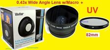 0.43x WIDE ANGLE LENS W/MACRO 72mm + UV FILTER 82mm for Camera  Camcorder Video