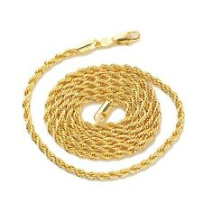 "18k Yellow Gold Filled Men's/Women's Necklace 24""Rope Chain GF Charming Jewelry"