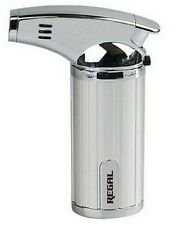 REGAL REFILLABLE BUTANE SINGLE FLAME TORCH LIGHTER-SILVER COLOR