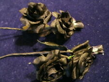 "Millinery Flower Black Silk 1.25"" Doll Size Rose Lot Y217 for Hat Wedding + Hair"