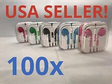 100x LOT Mix Color Earpods Earphones Earbuds Remote & Mic for Apple iPhone