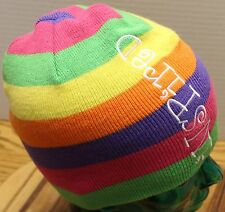 "Girl's Bright-Colored Striped Beanie Hat - ""INSPIRED"" by Little Brownie Bakers"