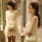 Sexy New Ladies Girl Long Sleeve Floral Crochet Lace Party Tops Shirt Blouse