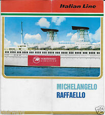 MICHELANGELO & RAFFAELLO 1960'S COLOR BROCHURE GENOA NAPLES CARIBBEAN ROUTES