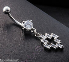 New Silver Plated Body Jewelry Belly Button Rings Clear Cubic Zirconia