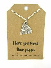 I Love You More Than Pizza Silver Plated Necklace Message Card Quote Funny Gift