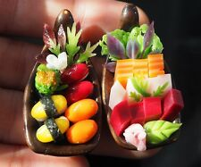 Dollhouse Miniatures 2 Boats of Japanese Food Sushi Sashimi Food Supply Deco