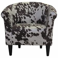 Brown Cow hide Barrel Chair Contemporary Accent for Living Room Bedroom Sitting