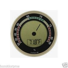 Caliber IV 4R Digital Humidor Hygrometer LCD Display Calibration Round Silver