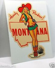 MONTANA Cowgirl Pinup Vintage Style Travel Decal, Vinyl Sticker, Luggage Label