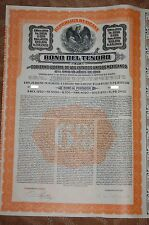 MEXICO Mexicana Bono del Tesoro £200 Series C Gold Bond 1913 +original coupons