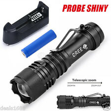 5000LM CREE Q5 AA/14500 Zoom LED Torch Super Bright Flashlight +Battery +Charger