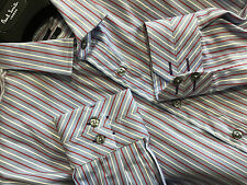 """Paul Smith Multistripe Shirt 17"""" Slim Fit Single Cuff Made in Italy RRP £165"""