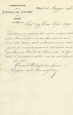 Lettera Autografo Vescovo di Lodi Giovanni Battista Rota Cimitero di Chiari 1875