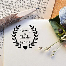 Personalized Mounted Wedding Laurel Custom Name Date Address Rubber Stamp R543