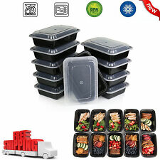 10 Meal Prep Containers Food Storage Reusable Microwavable Plastic 1 Compartment