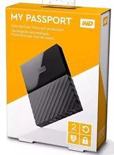 2tb WD My Passport Hard Disk Portatile Backup automatico PC il software di memorizzazione-nero