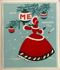 Young Lady Red Petticoat Dress Ornament Me 40's Vintage Christmas Greeting Card