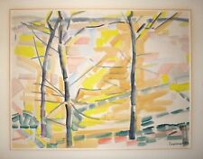 Jacques Lagrange gouache et encre papier signée datée 1953 Creuse abstract art