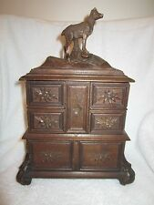 Black Forest Carved Deer Wooden Jewelry Box 5 Compartments Lock & Key Antique