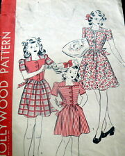 LOVELY VTG 1940s GIRLS DRESS HOLLYWOOD Sewing Pattern 14