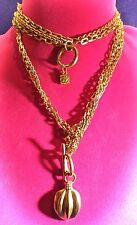 Auth Karl Lagerfeld Paris CHANEL Designer Long Chain 24K Gold p NECKLACE SIGNED