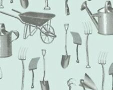 ANTIQUE SEEDS VINTAGE STYLE GARDENING TOOLS FABRIC
