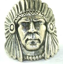 VTG MENS WOMEN'S  STERLING SILVER TALL INDIAN CHIEF RING SIZE 7.5