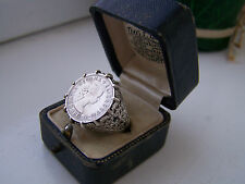 VINTAGE STERLING SILVER ELIZABETH II SIX PENCE 1962 COIN SIGNET RING SIZE P RARE