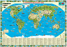 Illustrated map of the world Children Posters Animal Landscape 100x70cm #100607