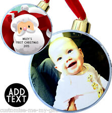 PERSONALISED FIRST CHRISTMAS PHOTO SANTA CHRISTMAS BAUBLE ADD TEXT DECORATION