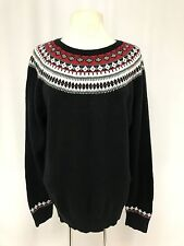womens black red TALBOTS sweater nordic fair isle lambswool soft XL