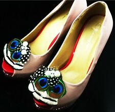 52a1-13 Bridal Wedding pearl peacock feather shoe clip 2pieces(1 pair) lhf130801