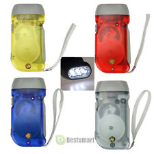 4x Pack Hand Crank All-Purpose LED Flashlight w' Squeeze Powered Recharge Colors
