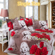 4pc in1 Retro 3D Marilyn Monroe Rose Floral Single Bedding Set Sheet Duvet Cove