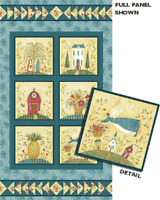 Family Forever 100% Cotton Quilting Fabric Panel or Wall Hanging Folk Art Style
