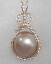 Mauve ~16MM ~ MABE PEARL PENDANT ~ Crafted USA ~ 14KT GF/SS