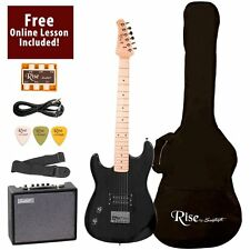Rise by Sawtooth ST-RISE-ST-LH-BLK-KIT-1 Electric Guitar Pack, Left Handed  HVI