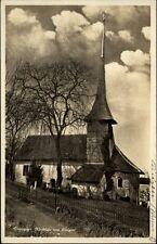 Einigen Schweiz Postkarte 1930 gelaufen Partie am Kirchlein Kirche Thunersee