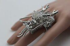 Women Silver Ring Fashion Long Metal Chinese Dragon Elastic Band Rhinestone Asia