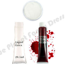 HALLOWEEN LIQUID LATEX FAKE SKIN WHITE PAINT BLOOD ZOMBIE MAKEUP FANCY DRESS