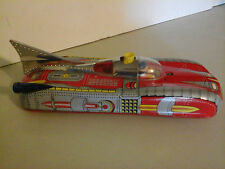 VINTAGE TIN LITHO BATTERY OPERATED TOY SPACE SHIP ROCKET CAR FOR PARTS OR REPAIR