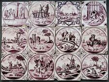 12 Antique Dutch Delft delftware tiles carreau, landscapes + biblical, 1750-1780